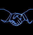 continuous line handshake icon neon concept vector image