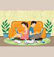 couple sitting with laptops vector image