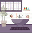 couple together in bathroom jacuzzi bathup enjoy vector image