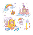 cute cartoon magic princess icon collection icon vector image