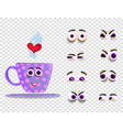 cute emoji set of pink cup with changeable eyes vector image