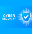 cyber security logo with shield and check mark vector image