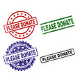 damaged textured please donate stamp seals vector image