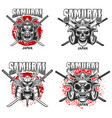 emblem template with samurai helmet and crossed vector image vector image