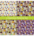 Four Flat Seamless Halloween Party Backgrounds Set vector image vector image