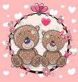 greeting card with two cute cartoon bears vector image vector image
