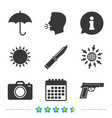 gun weapon knife umbrella and photo camera vector image vector image
