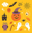 halloween collection design elements vector image