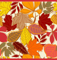 hand drawn autumn leaves seamless background vector image vector image