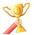 hand raises golden prize award cup success vector image vector image