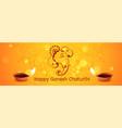 happy ganesh chaturthi festival banner with diya vector image
