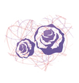 heart consist of blue roses vector image vector image