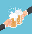 isometric two businessman hands clinking beer mug vector image vector image