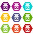 jar of powder marijuana icon set color hexahedron vector image vector image