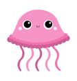 jellyfish toy icon big eyes claws cute cartoon vector image vector image