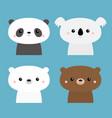 koala panda grizzly polar cub cute bear set vector image vector image