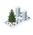 landscape snow covered futuristic isometric vector image vector image