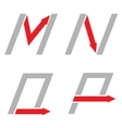 M N O P letters vector image vector image