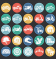 motorcycle icons set on color circles black vector image