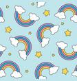 pastel rainbow and stars seamless pattern on blue vector image