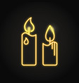 pillar candles icon in neon line style vector image vector image