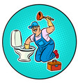 plumber cleans toilet vector image vector image