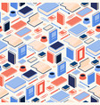seamless pattern with isometric books and vector image vector image