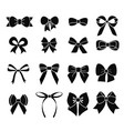 set of black and white bows in vector image