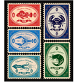 set postage stamps with seafood vector image vector image