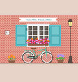 street building facade house with bicycle vector image vector image