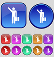 tourist icon sign A set of twelve vintage buttons vector image vector image