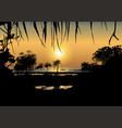 tropical sunset on the sea shore vector image