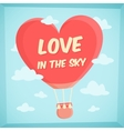 Valentines poster with hot air balloon in sky vector image vector image