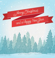 Vintage winter forest landscape Postcard Merry vector image vector image