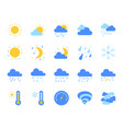 weather simple flat color icons set vector image