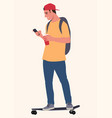young man on skateboard using smart phone vector image