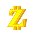z letter bitcoin font cryptocurrency alphabet vector image vector image