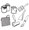 Painting accessories hand-drawn vector image