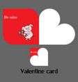 valentine card with pig vector image