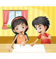 A boy and a girl discussing with an empty signage vector image vector image