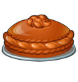 baked loaf on a platter isolated on white vector image vector image