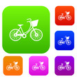 bike with luggage set collection vector image vector image