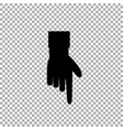 black hand with index finger pointing down on vector image vector image