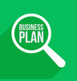 business plan word magnifying glass vector image vector image