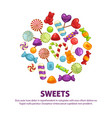candies and caramel lollipop sweets and vector image