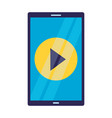 cellphone video player on white background vector image vector image