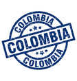 colombia blue round grunge stamp vector image vector image