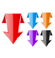 colored down arrows web shiny 3d icons vector image