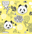 colorful seamless pattern with cute panda vector image vector image