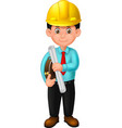 cool architect in blue suit and yellow helmet vector image vector image